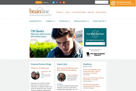 Screengrab from Brainline.org website.
