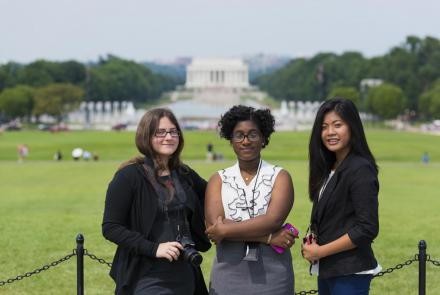 PBS Student Reporting Labs journalists in front of Lincoln Memorial in Washington, D.C.