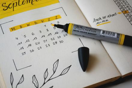 Calendar with yellow highlighter - monthly giving