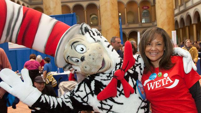 WETA's Director of Community Engagement, Ferne Barrow, with the Cat in the Hat at Discover Engineering Day.