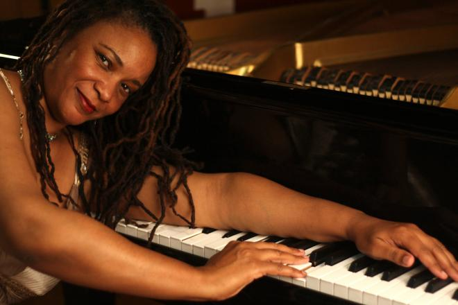 Dr. Karen Walwyn at her piano
